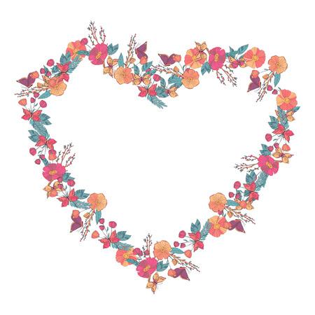 un: Hand drawn Flowers arranged un a shape of  heart. Wildflowers vector wreath Illustration