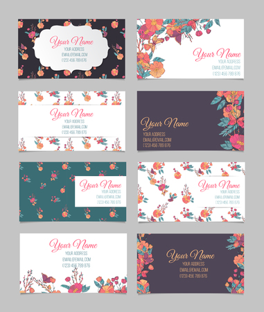 cute cards: Set of eight floral vintage business cards with hand drawn autumn flowers, branches with berries and butterfly Stock Photo