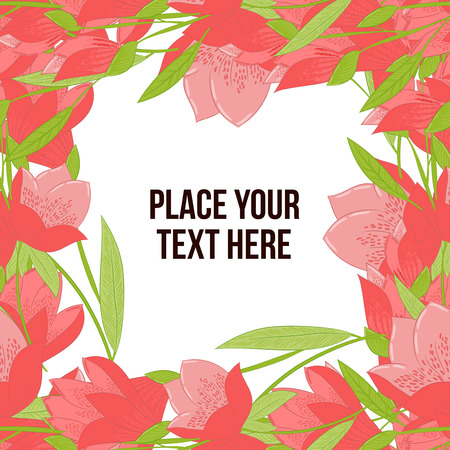 copyspace: Square floral frame made of red tulips on white background. Copy-space