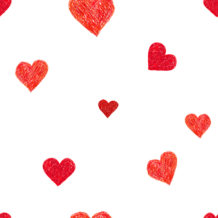 handdrawn: Hand-drawn doodle seamless pattern with hearts. Red heart vector background
