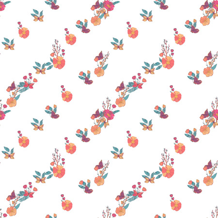berry fruit: Floral Seamless Vintage Pattern With Wildflowers and Butterfly on White background. Hand Drawn Illustration