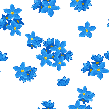 Stylish floral seamless pattern with forget-me-not. Forget me not flowers. Çizim