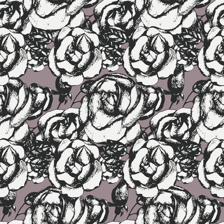 rosas en blanco y negro de la vendimia, patrón transparente.