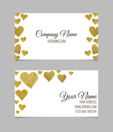 love gold: Business card template. Visiting card with golden foil heart shapes on white background. Double-sided vector business card. Illustration