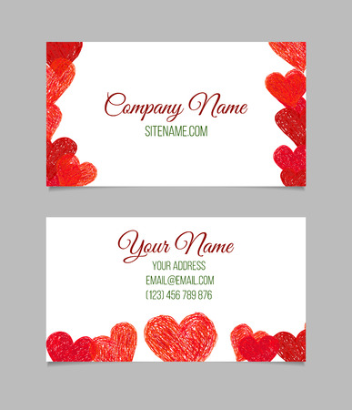letter i: Visiting card with red hand drawn hearts. Double-sided vector business card.