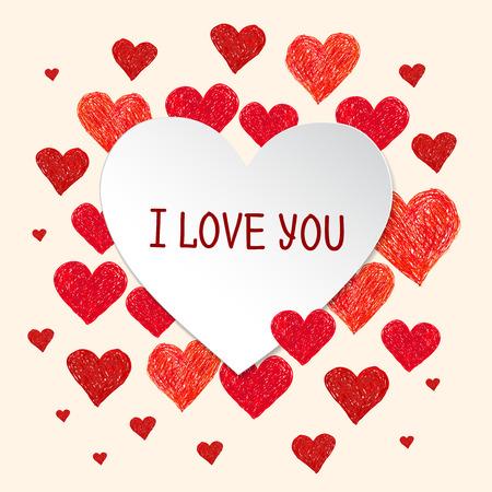 te amo: Marco del coraz�n en forma. Dibujado a mano coraz�n y el lugar para el texto. De San Valent�n marco del d�a con las palabras te amo