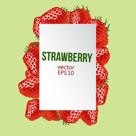 corporative: Label with place for your text and strawberry border. Vector illustration. Red ripe strawberry