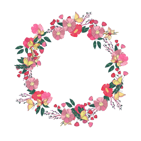 un: Hand drawn Flowers arranged un a shape of  wreath. Wildflowers vector Illustration