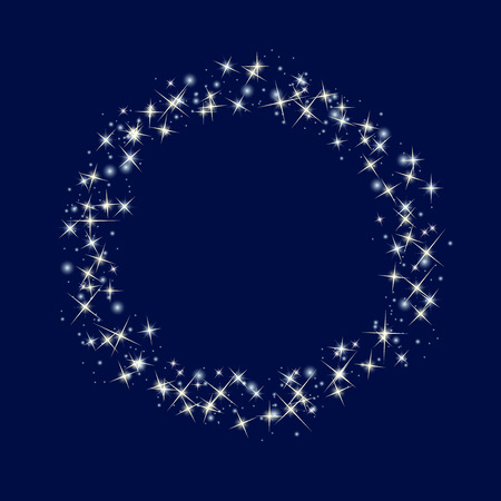 copyspace: Starry circle border on blue backgeound. Vector illustration. Copy-space