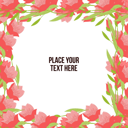 copyspace: Floral frame made of red tulips on white background. Copy-space Illustration