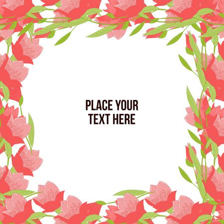Floral frame made of red tulips on white background. Copy-space Ilustração