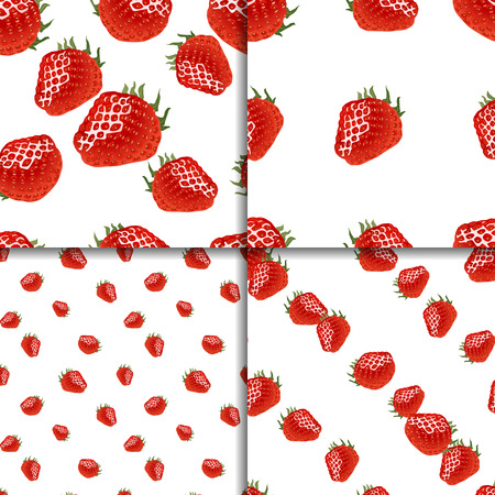womanlike: Seamless pattern set with ripe strawberry on white. Four backgrounds for your design. Good for web, wrapping paper, print etc