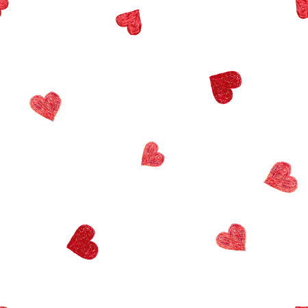 Hand-drawn doodle seamless pattern with hearts. Red heart vector background
