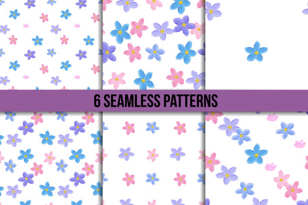 forget me not: Floral seamless pattern set with forget-me-not. Six backgrounds with  forget me not flowers on white background. Stock Photo