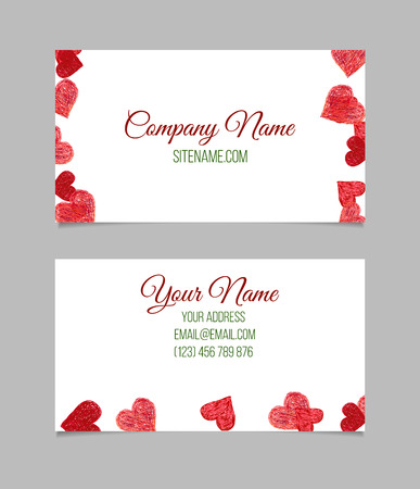 Business card template. Visiting card with red hand drawn hearts on white background. Double-sided vector business card. Çizim
