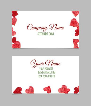 te negro: plantilla de tarjeta de visita. Tarjeta de visita con los corazones dibujados mano de color rojo sobre fondo blanco. tarjeta de doble cara de presentaci�n de vector. Vectores