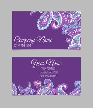 asian business: Double-sided  business card template. Asian Paisley violet vector visiting card