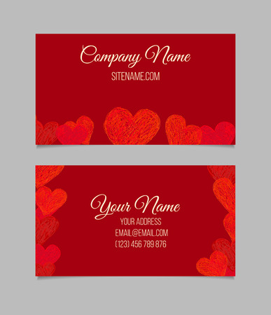 love abstract: Business card template. Visiting card with red hand drawn hearts. Double-sided vector business card.