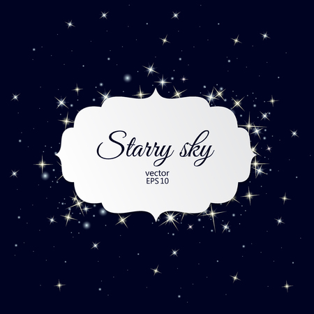 starry sky: White label with place for text on starry sky background