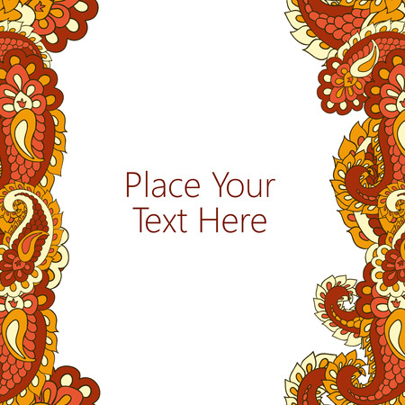 copyspace: Abstract vertical paisley border. Good  for page decoration, invitation, greetings cards  or announcements. Copy-space