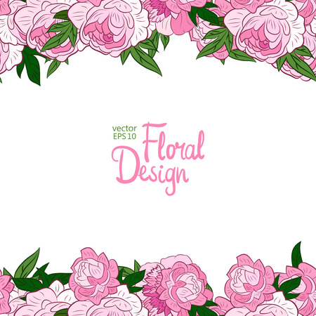 peonies: Vector horisontal border with pink peonies and place for your text