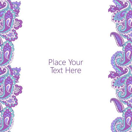 텍스트에 대 한 추상 세로 paisley 테두리입니다. 페이지 장식, 초대장, 인사말 카드 또는 공지 사항에 적합합니다. 일러스트