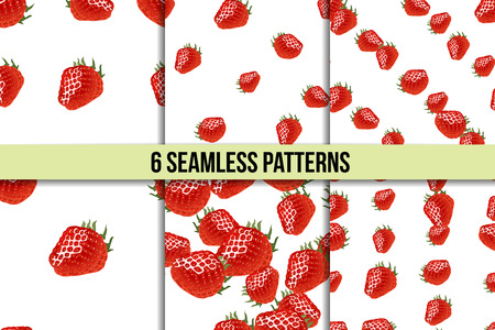womanlike: Six seamless patterns with ripe strawberry on white background Illustration