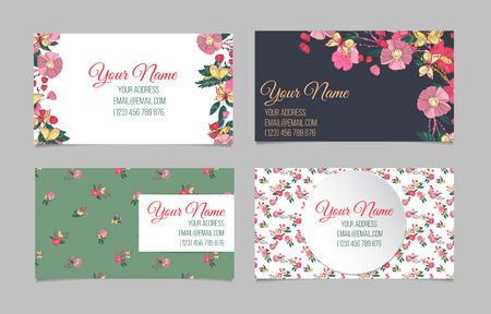 cute cards: Set of four double-sided floral business cards with hand drawn flowers and butterfly Stock Photo
