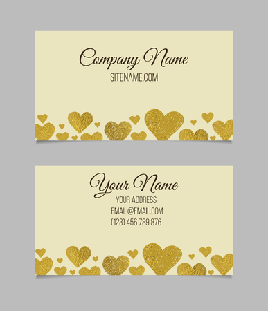 Business card template. Visiting card with golden foil heart shapes. Double-sided vector business card.