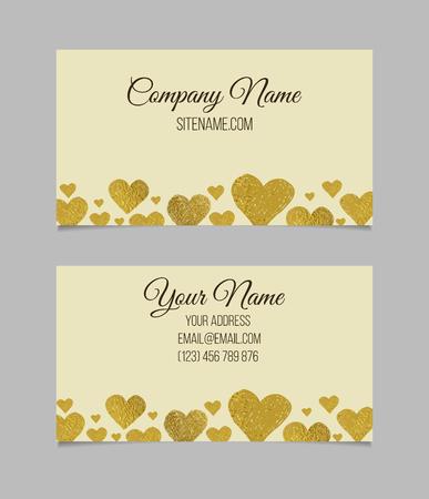 you black: plantilla de tarjeta de visita. Tarjeta de visita con forma de coraz�n hoja de oro. tarjeta de doble cara de presentaci�n de vector.