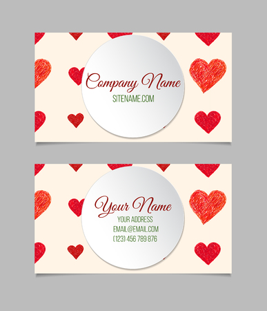 letter i: Business card template with red hand drawn hearts. Double-sided vector business card.