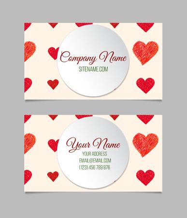 you black: plantilla de tarjeta de visita con corazones dibujados mano roja. tarjeta de doble cara de presentaci�n de vector. Vectores