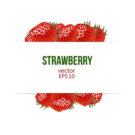 editable: Label with place for your text and strawberry border. Vector illustration. Red ripe strawberry