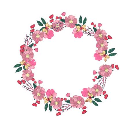 un: Hand drawn Flowers arranged un a shape of  wreath. Wildflowers vector Illustration