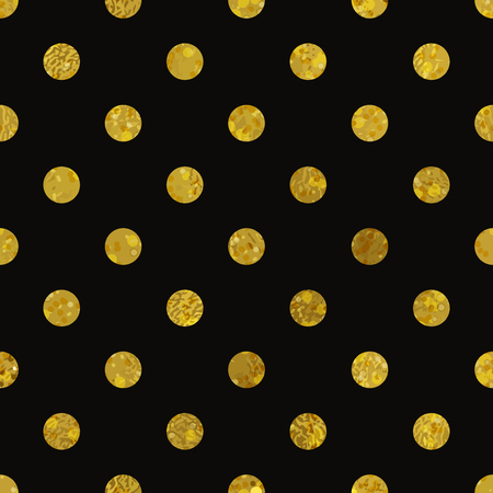 gold glitter: Black and gold  pattern. Abstract polka dot background. Vector illustration. Texture of gold foil.