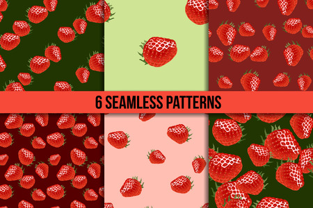 womanlike: Six seamless patterns with ripe strawberry on green and red backgrounds Stock Photo