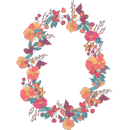 un: Hand drawn Flowers arranged un a shape of  oval wreath. Wildflowers vector Illustration