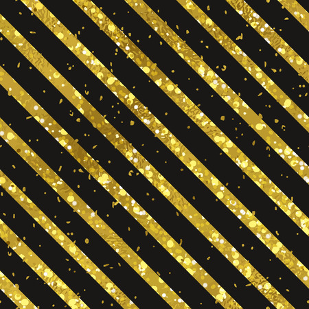 digital paper: Abstract seamless diagonal striped gold and black background. Texture of gold foil. Digital Paper Illustration