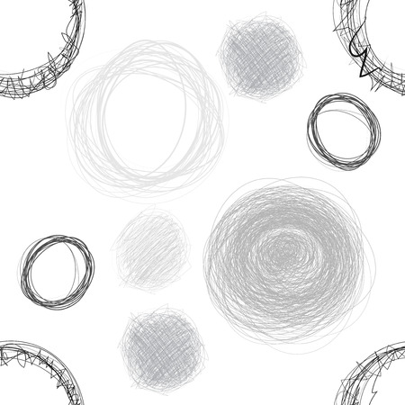 digital paper: Black and White Pencil Scribble Circles Seamless Pattern. Abstract Seamless Background. Digital paper
