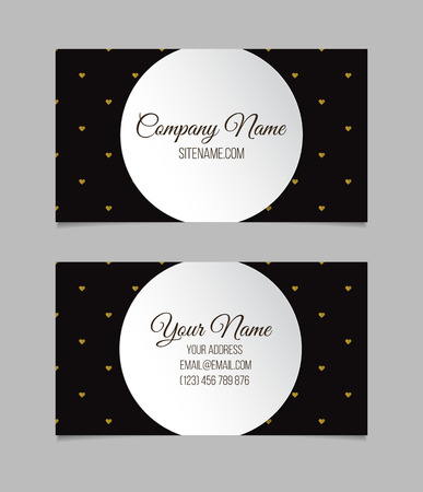 Business card template. Double-sided vector business card. Çizim