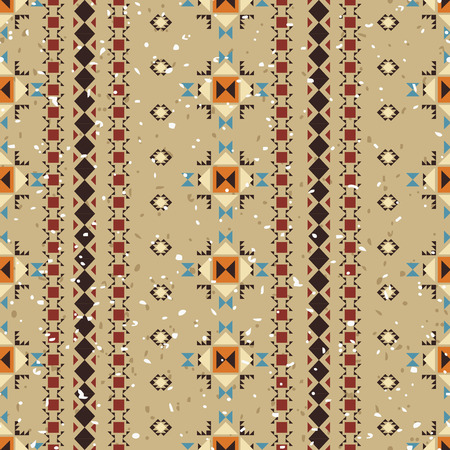 Geometric ethnic seamless pattern. Aztec background made of abstract geometric elements. Digital or wrapping paper made of small ethnic geometric shapes