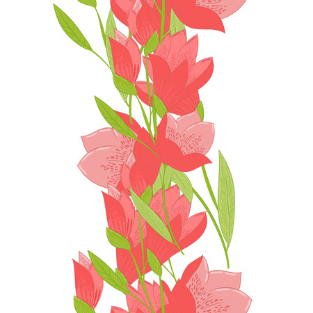 mammy: Floral seamless border  made of red tulips on white background.