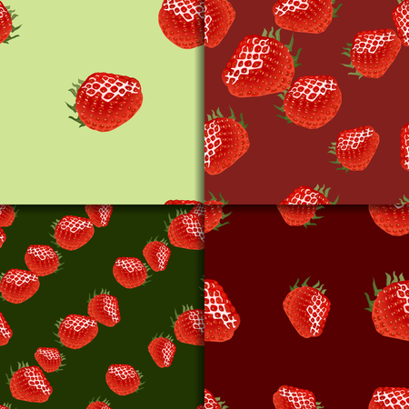 womanlike: Four seamless patterns with ripe strawberry on green and red backgrounds. Good for web, wrapping paper, print etc