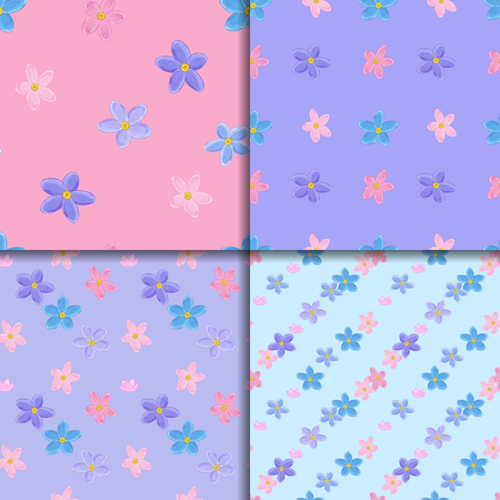 forget me not: Floral seamless pattern set with forget-me-not. Four backgrounds with  forget me not flowers. Good for web, print, wrapping paper