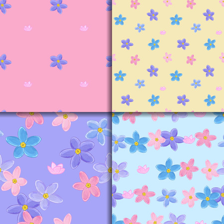 forget me not: Floral seamless pattern set with forget-me-not. Four backgrounds with  forget me not flowers. Illustration