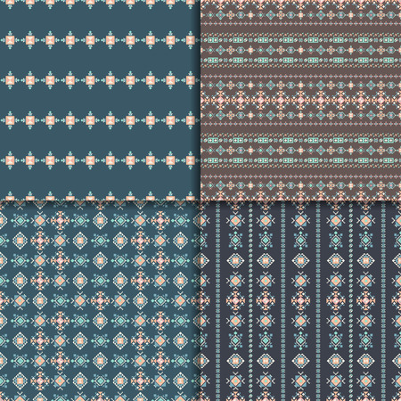 vectoe: Geometric ethnic seamless pattern set. Aztec backgrounds. Vector ornament, abstract seamless pattern.