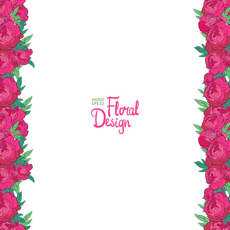 peonies: Vector vertical border with peonies and place for your text
