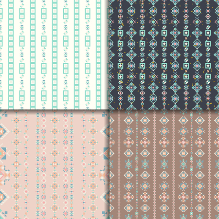 vectoe: Geometric seamless patterns. Abstract pattern set. Ethnic background