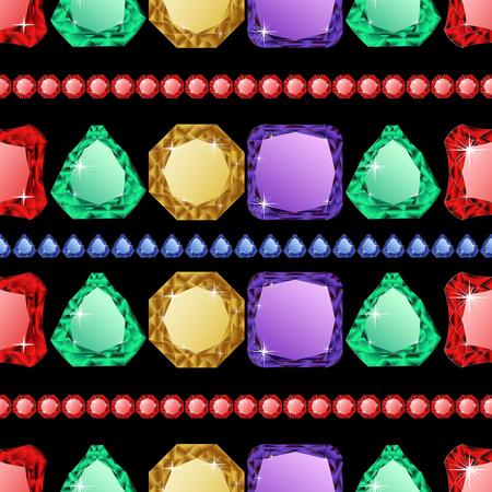 sapphire gemstone: Diamonds seamless pattern. Vector illustration jewerly. Abstract diamond vector background. Jem seamless pattern. Ruby sapphire and emerald. Seamless background, brilliant jewels. Wealth concept