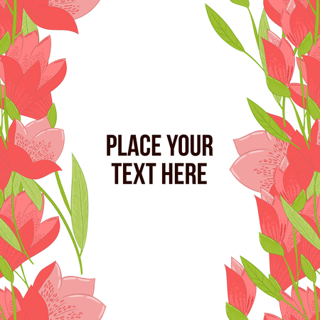 mammy: Floral frame made of red tulips on white background. Copy-space Illustration